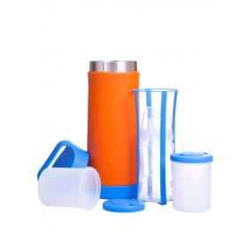 Termos na butelki i żywność (niebiesko-pomarańczowy)