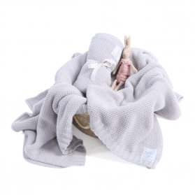Kocyk tkany CottonClassic jasny szary