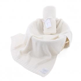 Kocyk tkany CottonClassic kremowa beza
