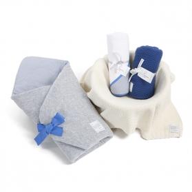 Zestaw wyprawkowy 3w1 (rożek + ręcznik + kocyk tkany) Navy Blue