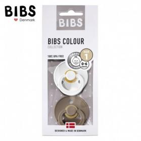BIBS - Zestaw smoczków uspokajających S 2 pack WHITE & DARK OAK