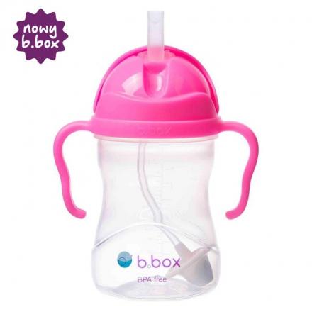 B BOX- Bidon ze słomką 240ml różowy granat