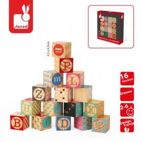 JANOD - Klocki drewniane Kubix 16 sztuk Alfabet
