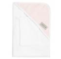 Bamboom Ręcznik Bambusowy z Kapturkiem + Myjka, Biały i Różowy, 0m+