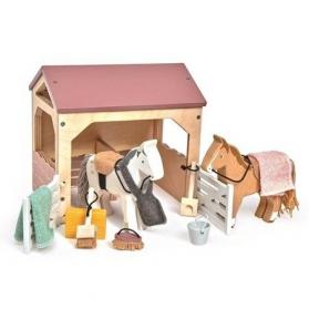 Tender Leaf Drewniane figurki do zabawy stajnia z końmi