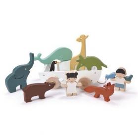 Tender Leaf Toys Drewniany statek do ciągnięcia ze zwierzątkami