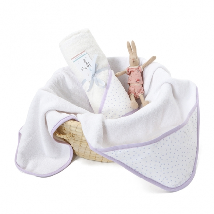 Ręcznik z kapturem Lavender dots
