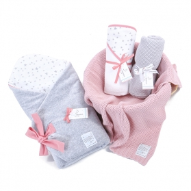 Zestaw wyprawkowy 3w1 (rożek + ręcznik + kocyk tkany) MilkyWay Peach