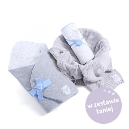 Zestaw wyprawkowy 3w1 (rożek + ręcznik + kocyk tkany) MilkyWay Blue
