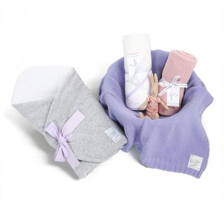 Zestaw wyprawkowy 3w1 (rożek + ręcznik + kocyk tkany) Lavender Dots